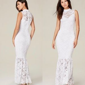 Bebe White Lace Maxi Mermaid Cocktail Dress